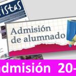 Modificación del calendario de ADMISIÓN DE ALUMNOS para el curso 20-21